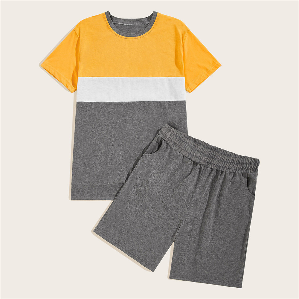 2019 Summer New Style Men Loose-Fit Versatile Short Sleeve T-shirt Two-Piece Set-Style Two Sorts Color Leisure Suit