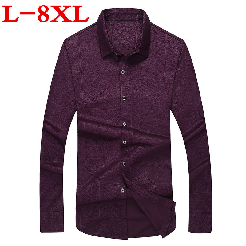 Plus Size Men Casual Long Sleeved Printed Shirt Loose Fit Male Social Business Dress Shirt Brand Men Clothing Soft Comfortable