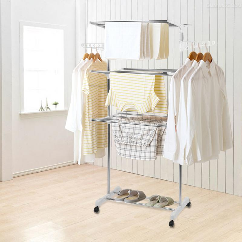 Stainless Steel Three Layer Foldable Hanger Clothes Drying Rack Storage Bathroom Household Shoes Movable Hanger Baby Clothes HWC 1
