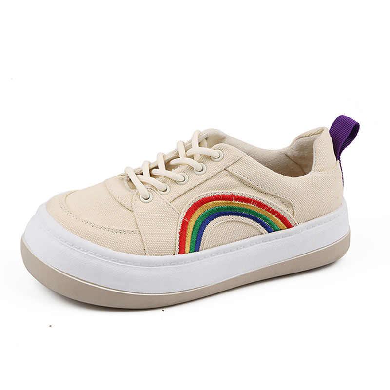 Dây leo Nữ Giày Sneakers Thấp Trượt Ván Giày Vải Nền Tảng Flat Người Phụ Nữ Rainbow Thêu Espadrilles