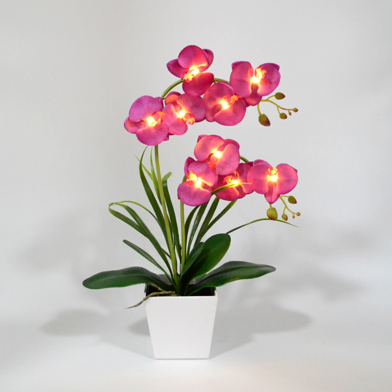 Free Shipping LED Blossom Orchid Flower Light 9 PCs Warm White LED /Lighted Flowers With Battery Pot LED Orchid Flower Bonsai