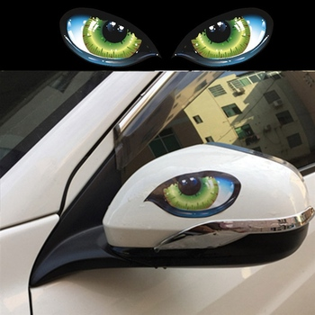 2Pcs Car Stickers 3D Stereo Reflective Cat Eyes Car Sticker Creative Rearview Mirror Decal Universal Eyes stickers image