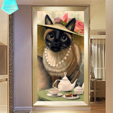 PSHINY 5D DIY Diamond embroidery sale aristocrat cats animal Full drill round rhinestones pictures Painting new arrivals