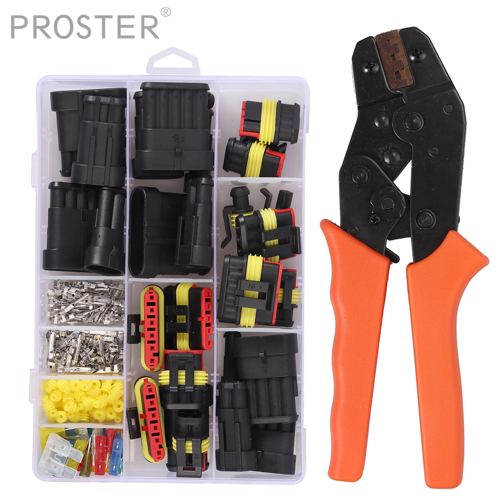 Proster for <font><b>1</b></font> 2 <font><b>3</b></font> <font><b>4</b></font> <font><b>5</b></font> 6 Pin Car Motorcycles Waterproof Electrical Terminal Wire Connector crimper tool set + Fuses MA867 image