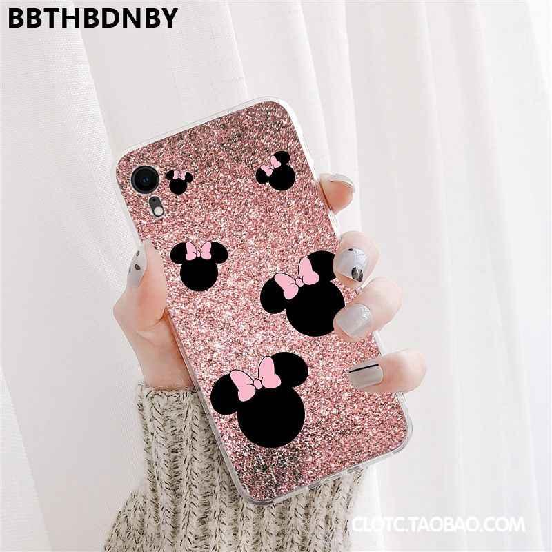 Diamants roses de luxe doux Transparent téléphone étui pour iphone 11 pro XS MAX 8 7 6 6S Plus X 5 5S SE XR couverture