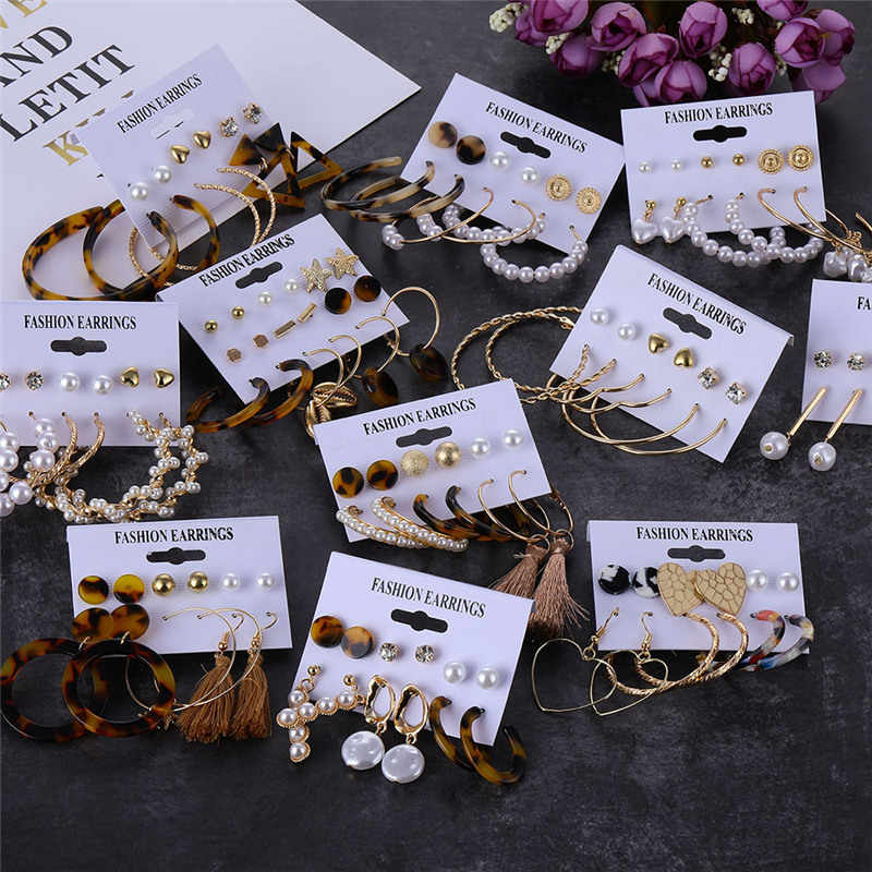 Bohemian Acrylic Mutiara Anting-Anting Panjang Rumbai Anting-Anting Set untuk Wanita 2019 Big Geometris Drop Anting-Anting Fashion Wanita Perhiasan