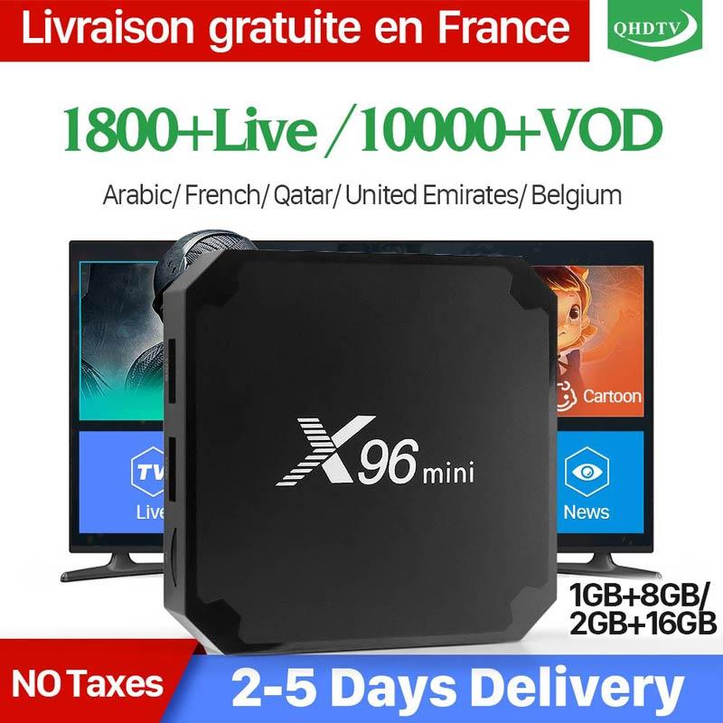 France IPTV abonnement X96 MINI Android 7.1 1 an QHDTV Code IPTV belgique néerlandais allemagne italie algérie arabe IPTV Box X96mini