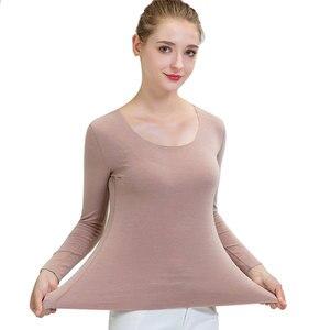 Высокоэластичное термобелье с круглым вырезом, бесшовная термальная рубашка с длинными рукавами, сохраняющая тепло, гладкое термобелье tmall...