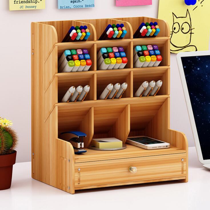 2020 Sharkbang Large Capacity Wood Desktop Organizer Holder Pencil Pen Sundries Badge Holder Storage Box Office Stationery