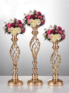 Table Centerpiece Vase-Rack Candle-Holder Road-Lead-Decoration Flower Metal Wedding Creative