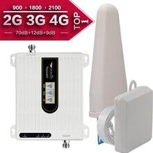 2G 3G 4G potrójny zespół komórki wwmacniacz sygnału telefonu 70dB GSM 900 LTE 1800 WCDMA 2100 mhz mobilny wzmacniacz sygnału komórkowego anteny zestaw