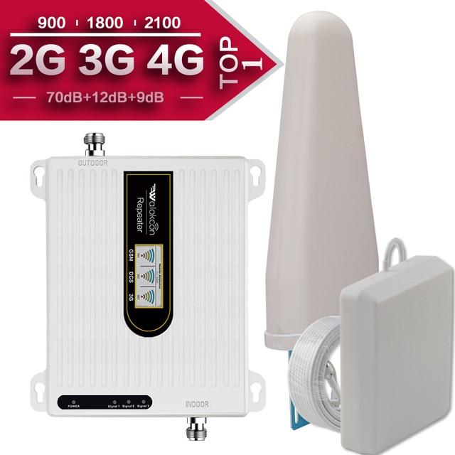 Amplificador de señal de teléfono móvil 2G, 3G, 4G, Triple banda, 70dB, GSM, 900, LTE, 1800, WCDMA, 2100 mhz