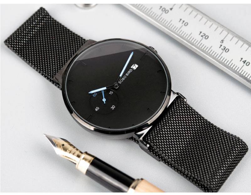 Image 4 - Male Watch Men Quartz Analog Timepieces Women BOBO BIRD magnetic Strap Blue Small dial relogio masculino Thin-in Quartz Watches from Watches
