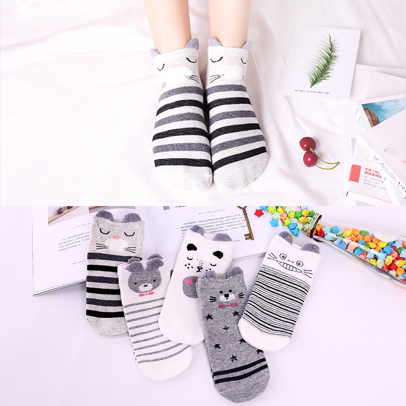 UG UP GRADE Funny Cartoon Women Cotton Invisible Cute Animal Rabbit Cat Stereo Ear Girl Ankle Socks Harajuku Breathable Socks