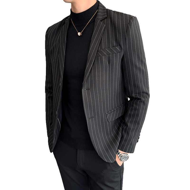 Autumn Business Affairs Stripe Masculino Suits Blazers 3 Color Classic Mens Blazer Vintage Suit Jacket