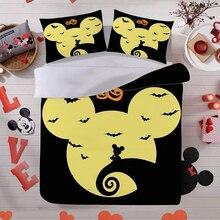 Disney Cartoon Mickey Minnie Halloween Design Bedding Set Duvet Cover Pillowcase Holiday Children Bedroom Decor Home Textile