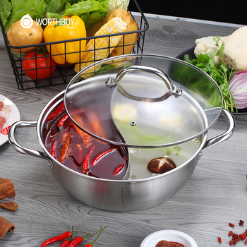 Maiyuansu Chinese 304 Stainless Steel Hot Pot 28/30/32cm Kitchen Soup Stock Pot Cookware For Induction Cookers Cooking Pot