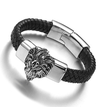 Granny Chic Black Genuine Leather Man Bracelets For Men Punk Stainless Steel Lion Head Mens & Bangles Friends Jewelry