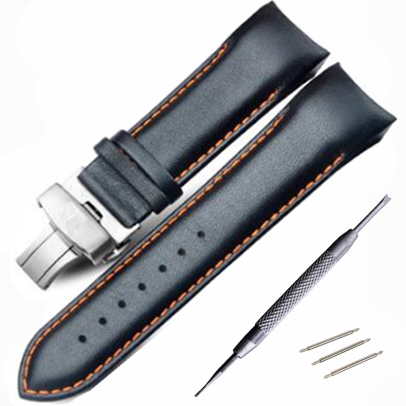 22mm 23MM 24MM High Quality Butterfly Buckle Orange Line Black Smooth Genuine Leather Watchband For T035 T035407 T035410 Straps
