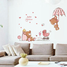 Cartoon two cute bears Wall Sticker Bedroom children's room decoration Mural Art Decals romantic Pink series stickers(China)