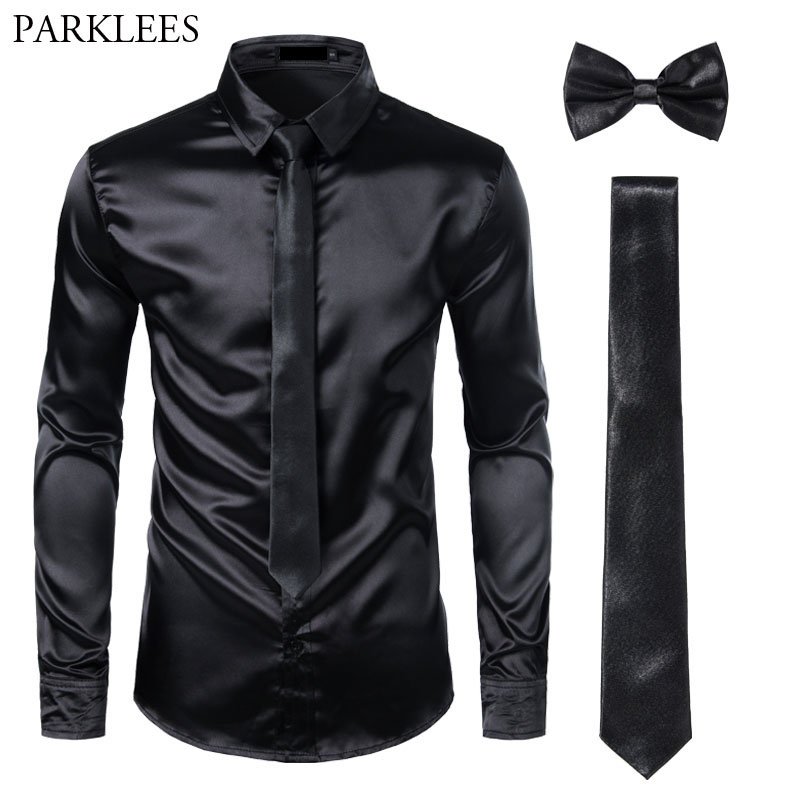 Black Mens Silk Dress Shirts 3Pcs(Shirt +Tie+Bowtie) Smooth Satin Shirt Men Slim Fit Party Prom Casual Shirts Men Social Camisa