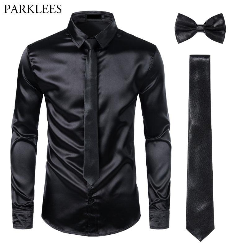 Black Mens Silk Dress Shirts 3Pcs(Shirt +Tie+Bowtie) Smooth Satin Shirt Men Slim Fit Party Prom Casual Shirts Men Social Camisa