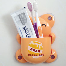 Creative Home Cartoon Toothbrush Holder With Suction Cup Bear Multi-function Storage Rack Toothpaste Super