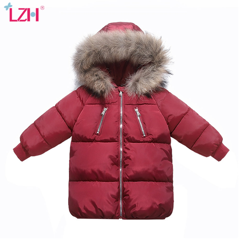 LZH 2021 Winter Autumn Thick Mid-Length Fur Collar Kids Coat Windproof Down Jacket For Girls Fashion Warm Boys Clothes 1-6 Years