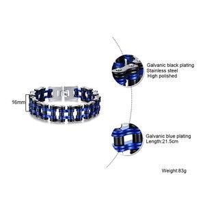 Image 5 - Mens Motorcycle Chain Bracelet Punk Bike Chain Bracelet Blue Stainless Steel Bike Chain Bracelet Couple Bracelet Wholesale