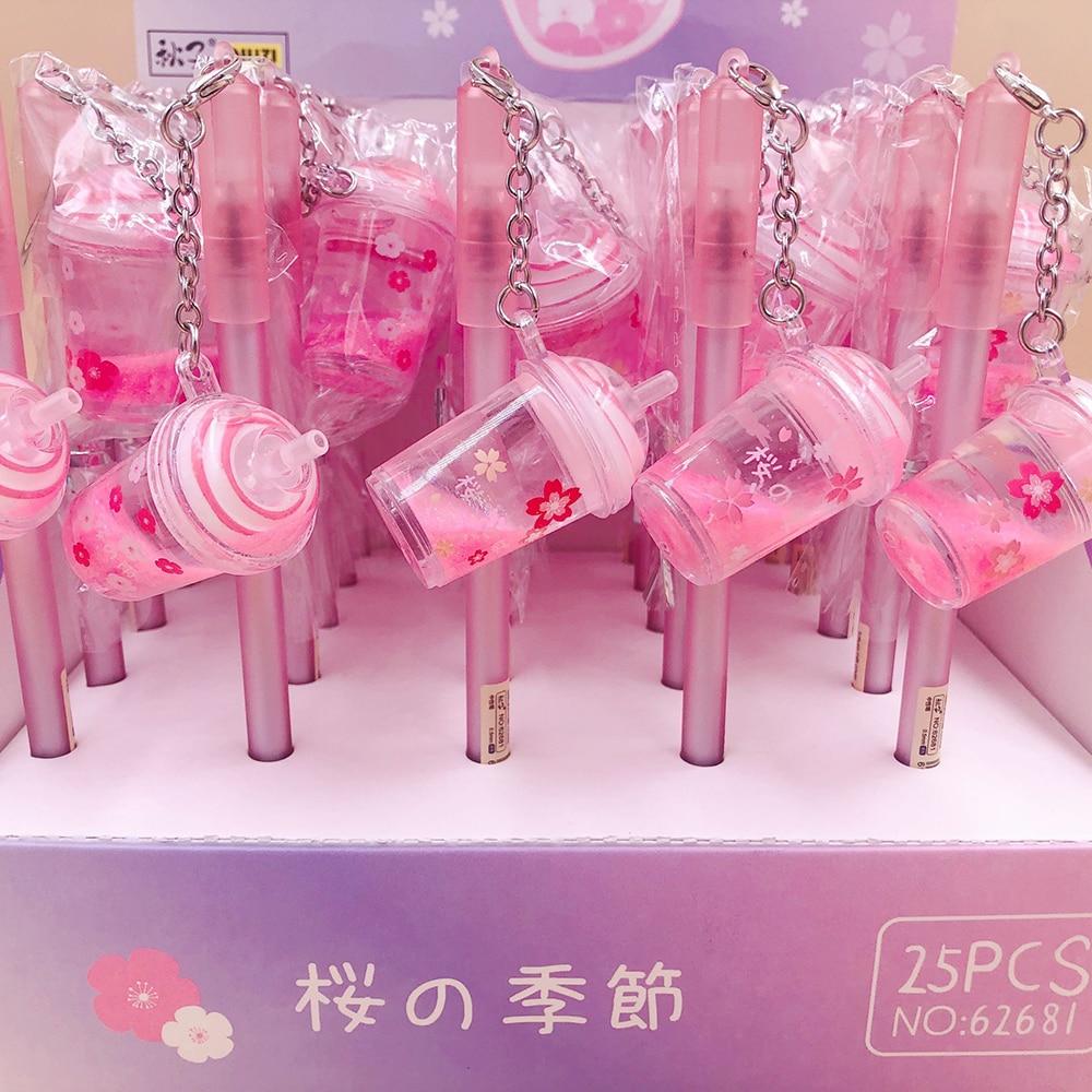 1 Pcs Cherry Blossom Milk Tea Cup Pink Pendant Gel Pen 0.5mm Black Ink Writing Pens Student School Office Stationery Supply