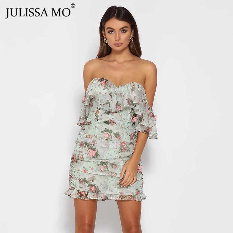 JULISSA MO Sexy Off Schulter Floral Print Kleid Frauen Rüschen Hülse Bodycon Kurzen Kleid Elegante Weibliche Backless Partei Vestidos