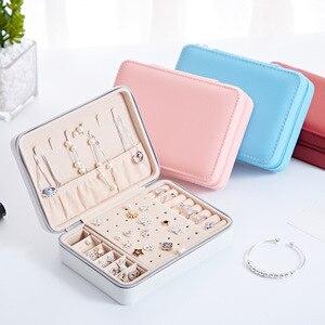 Image 2 - קוריאני סגנון תכשיטי תיבת תצוגה ארגונית אחסון עור גדול גדול multi פונקצית מראה שרשרת עגיל טבעת תיבת תכשיטים