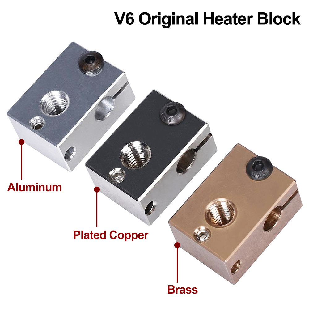 High Quality V6 Plated Copper Heater Block V6 Brass PT100 3D Printer V6 Heat Block For E3D V6 J-head Hotend BMG Extruder Titan