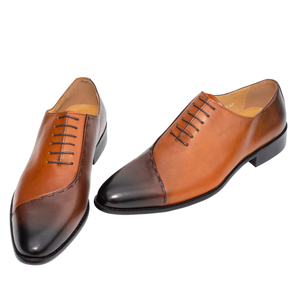 Image 3 - Mens Oxfords Leather Italian Design Fashion Luxury Brand Double Color Office Formal Pointed Toe Men Dress Wedding Shoes