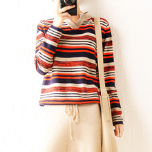 High quality cashmere long sleeve sweater V-collar loose leisure stripe knitted pullover ladies sweate