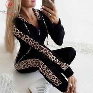 Image 3 - Women Autumn 2 Piece Outfits for Streetwear Leopard Patchwork Design Hoodies Decor Slim Zipper Top+Elastic Waist Pencil Pants