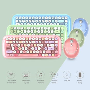 2.4G Wireless Keyboard Set Mixed Candy Color Roud Keycap Keyboard and Mouse Comb for Laptop Notebook PC Girls Gift 1