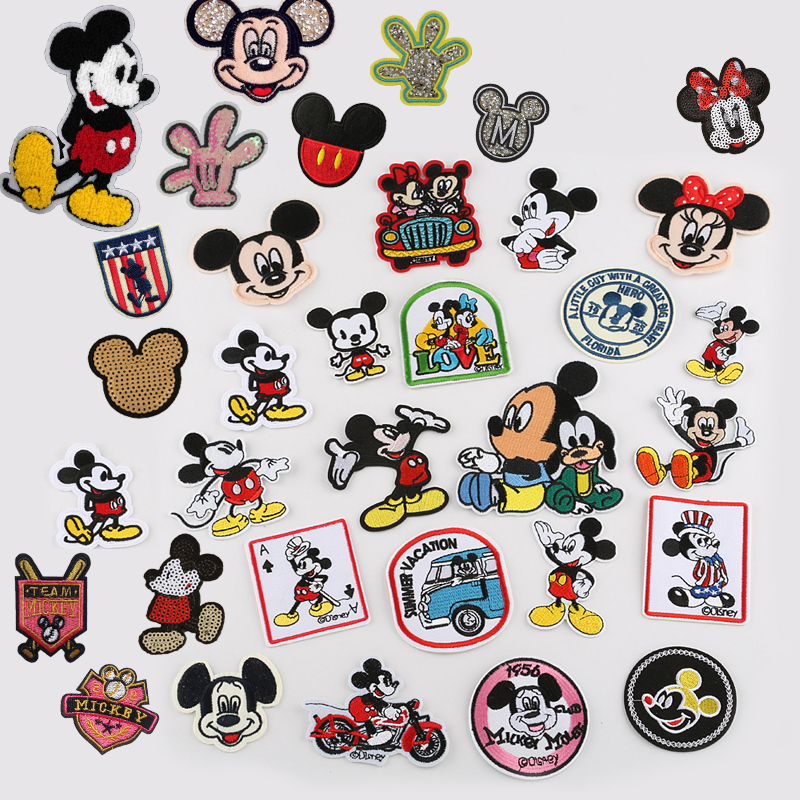 1pcs Mickey Parches Parches Ropa Embroidery Iron On Patches For Clothing DIY Cartoon Clothes Patchwork Stickers Sewing Appliques