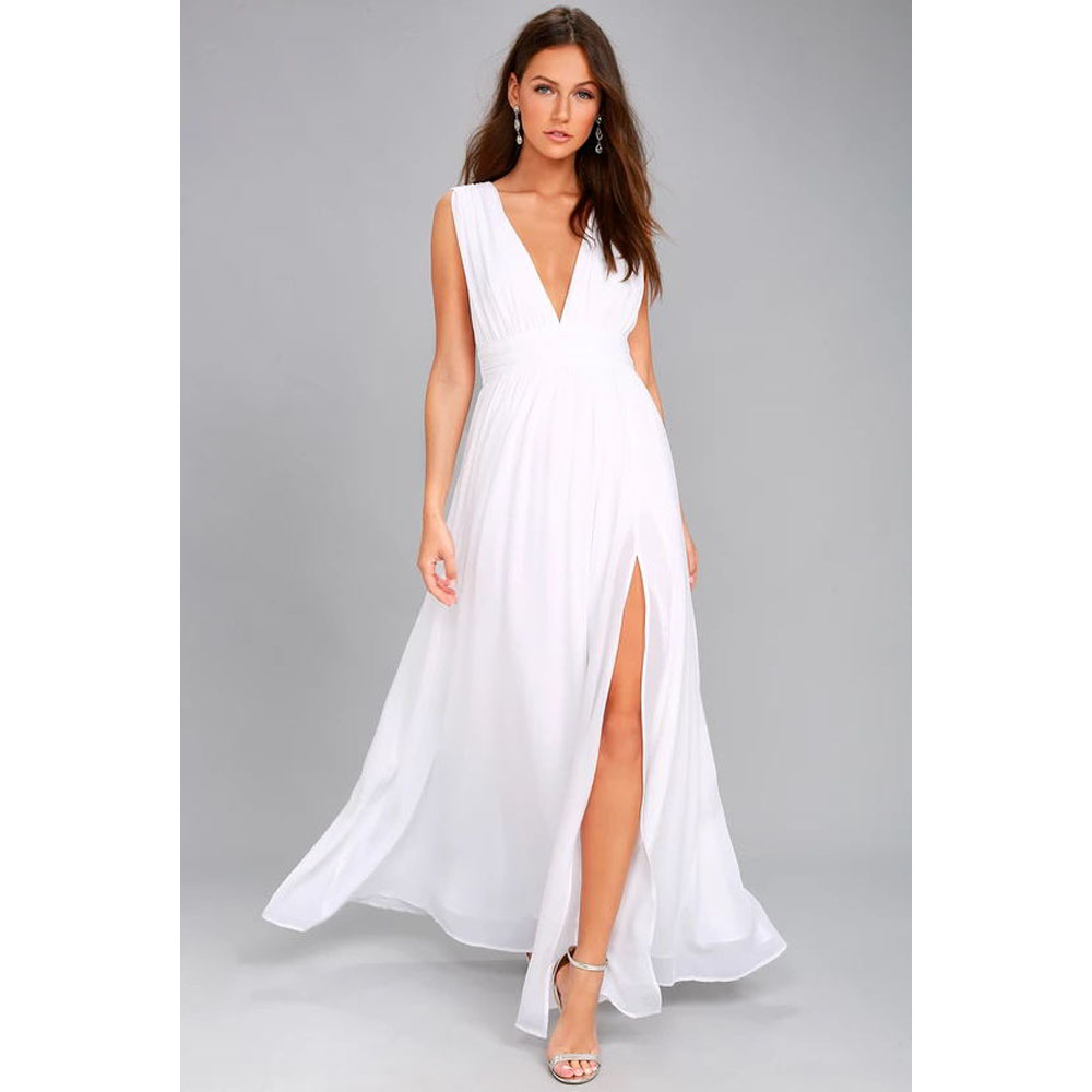 Sexy Solid Women Fall Sleeveless Deep V-Neck Backless Vintage Long Boho Party Cocktail Casual Loose Beach White Bodycon Dresses