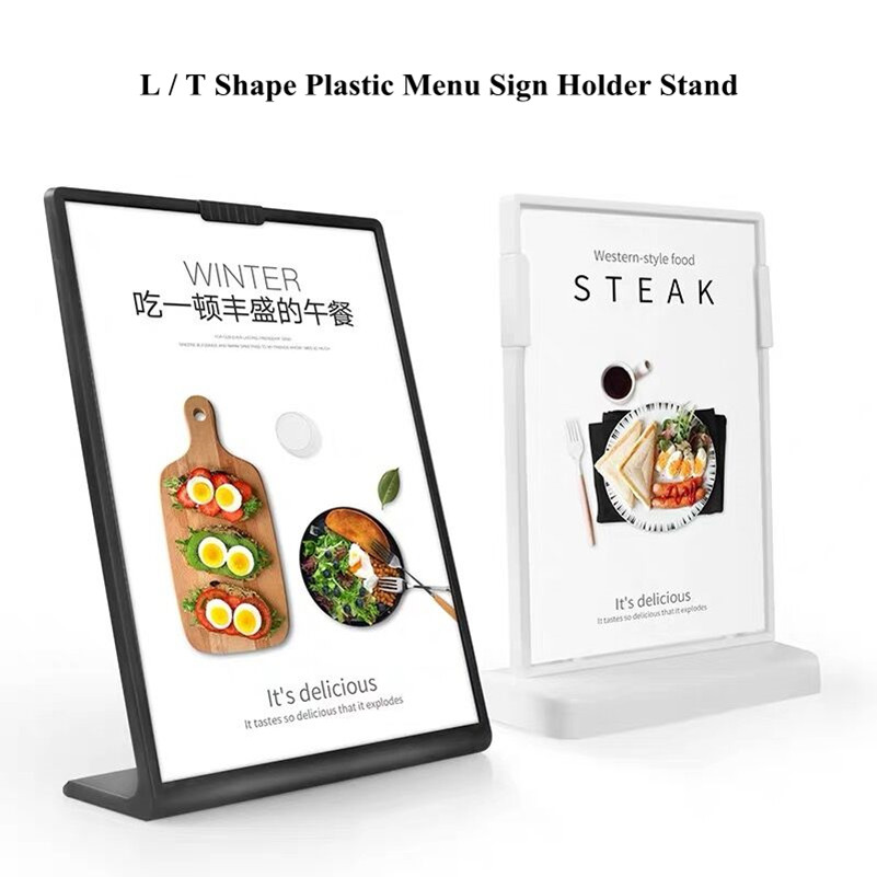 A4 Plastic Desktop Counter Poster Holder Sign Display Stand Acrylic Picture Paper Menu Frame Flyer Brochure Document Sign Stand
