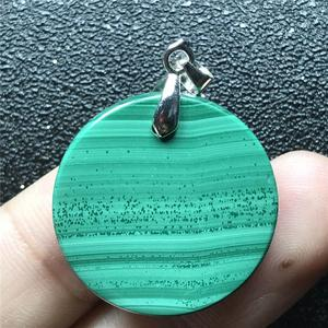 Image 3 - 24x6mm doğal yeşil malakit kolye kolye kadın için bayan erkek kristal 925 gümüş yuvarlak boncuk taş kolye takı AAAAA