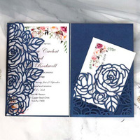 100pcs/set Tri fold Hollow Rose Wedding Invitaiton Card Business Birthday Greeting Card for Marry Festival Party Supply
