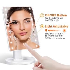 Image 2 - Lusterko kosmetyczne z podświetleniem LED podświetlane lusterko kosmetyczne ze światłem do makijażu regulowane światło 16/22 szczotka do rzęs z ekranem dotykowym