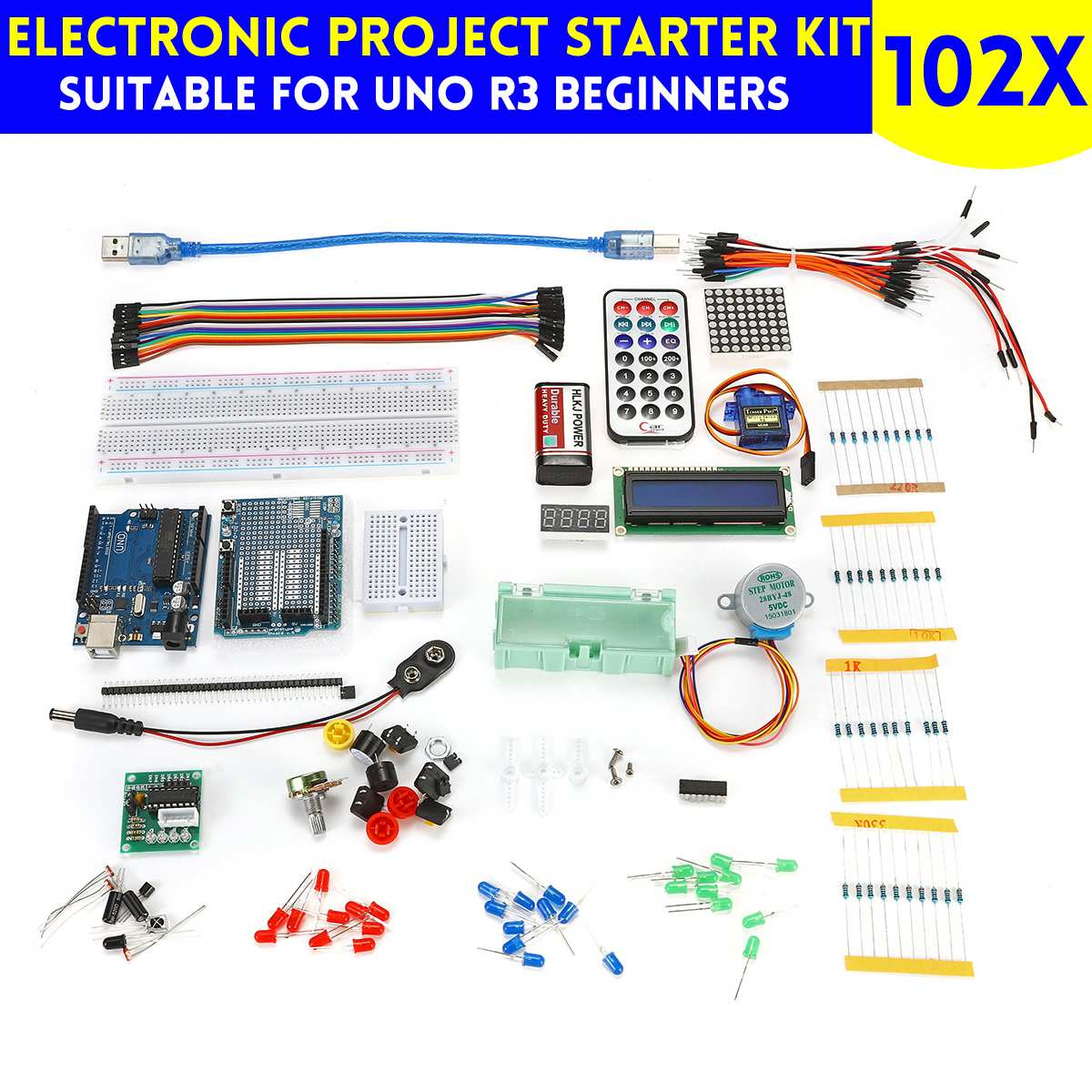 Beginners Electronic Starter Kit For Arduino UNO Including Components Projects