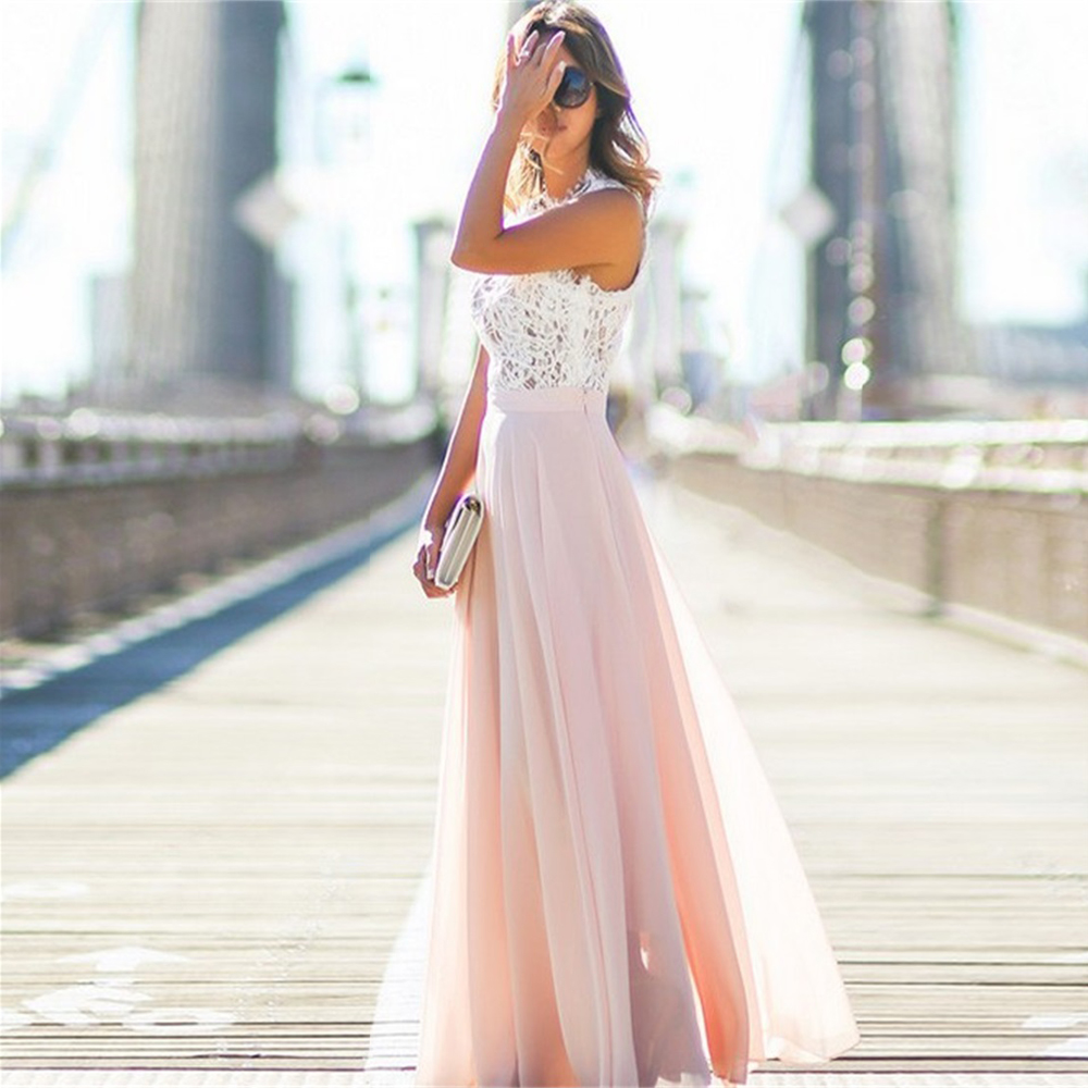 <font><b>Women</b></font> Summer <font><b>Dresses</b></font> <font><b>Chiffon</b></font> Lace <font><b>Sexy</b></font> Vintage Pink Office Sleeveless Long <font><b>Dress</b></font> New Ladies <font><b>Fashion</b></font> Party <font><b>chiffon</b></font> <font><b>Elegant</b></font> <font><b>Dress</b></font> image