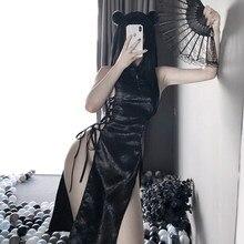 Qipao – Mini robe à bandes fendue, Lingerie Sexy pour femmes, uniforme Cheongsam, robe de soirée traditionnelle chinoise, Costumes de discothèque