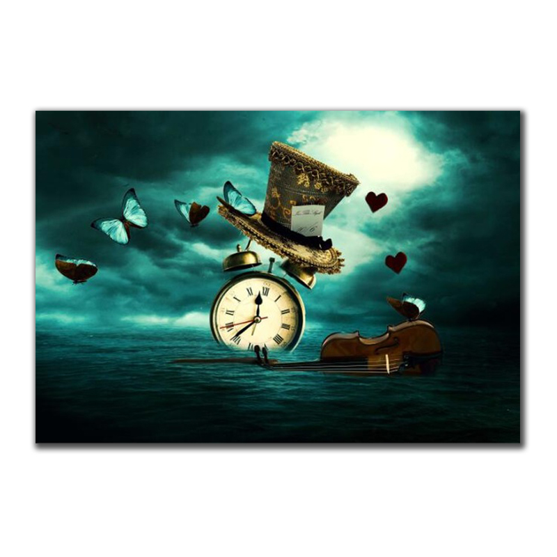 Clock Violin Butterfly Hat Surrealism Painting Printed on Canvas 7