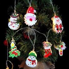 Metall Schneemann Santa Claus Weihnachten LED String Lichter Girlande Dekorative Fee Licht DIY Weihnachten Baum Ornament Dekoration