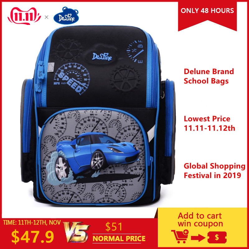 Factory Famous Brand Delune Kids Primary School Backpack Children 3D Cars Schoolbag Boys Girls Waterproof Orthopedic School Bags