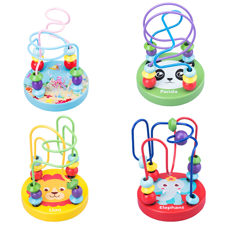 Montessori Baby Wooden Toys Kids Educational Wood Toys Child Boy Girls Circles Bead Wire Roller Coaster Toddler Maze Puzzle Toy